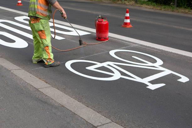 Bicyle lane - under construction stock photo
