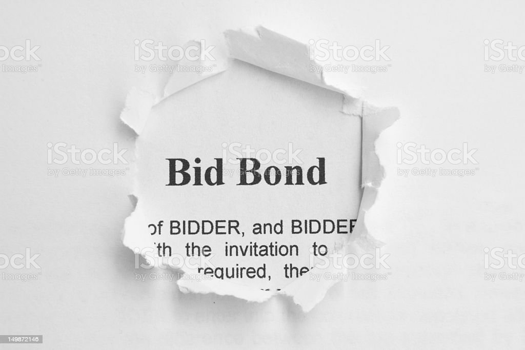 Bid bond stock photo