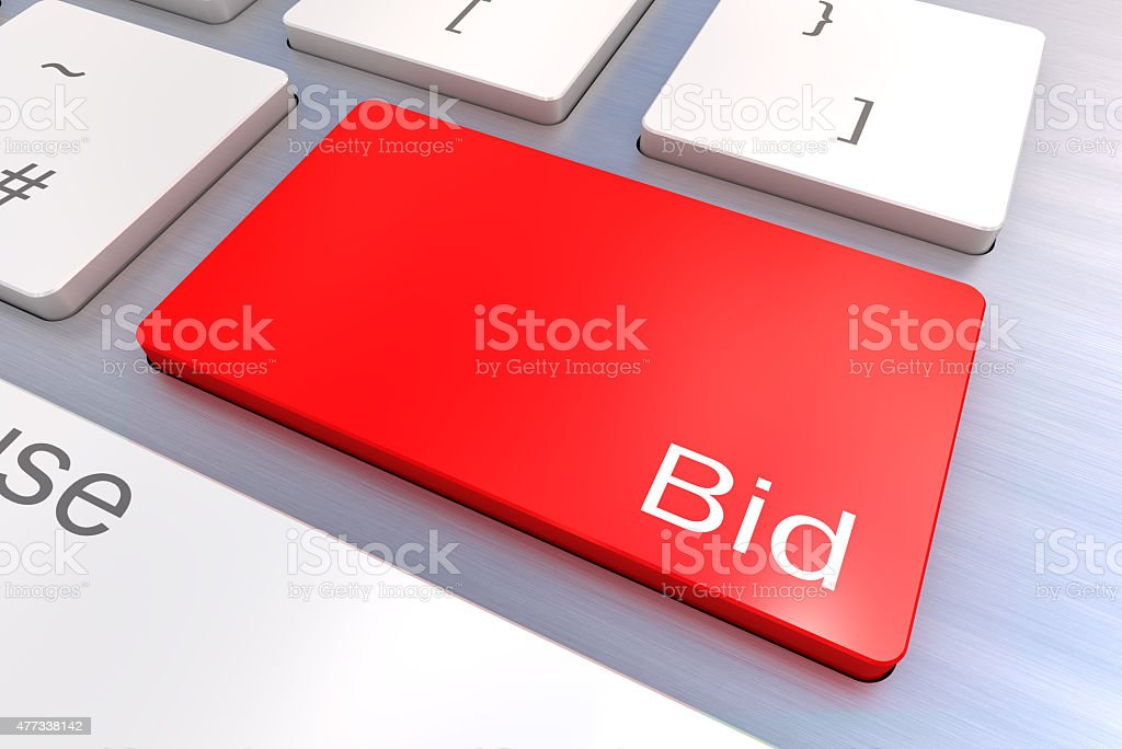 Bid keyboard button stock photo