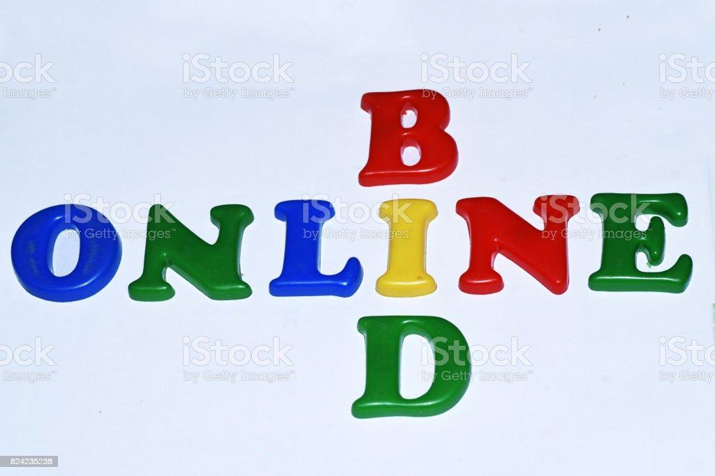 Bid online stock photo
