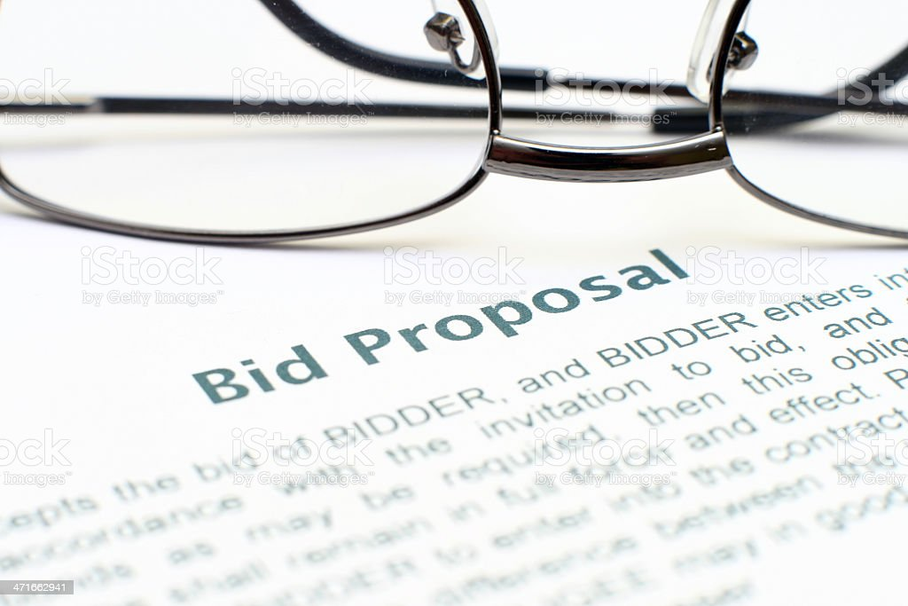 Bid proposal form stock photo