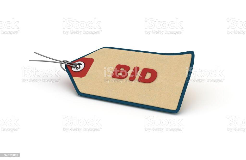 Bid Shopping Tag - 3D Rendering stock photo