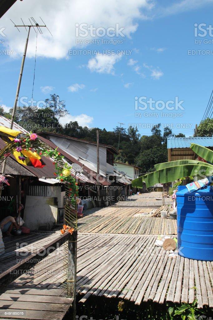 Bidayuh Longhouse at Sarawak, Malaysia stock photo