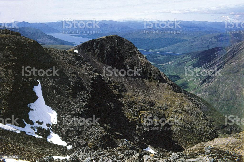 Bidean Nam Bian Summit Glencoe, Looking to Loch Leven stock photo