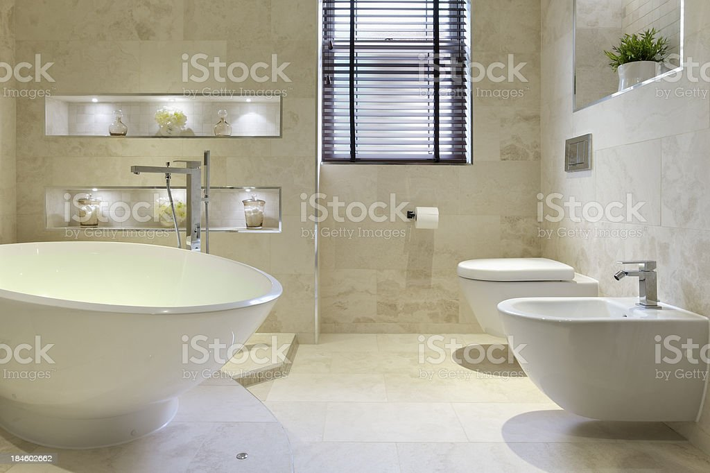 bidet, bath and toilet stock photo
