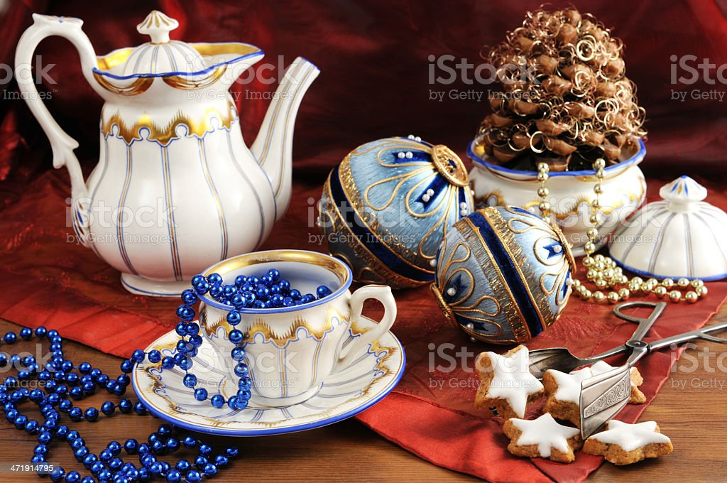 Biedermeier procelain with christmas decoration royalty-free stock photo