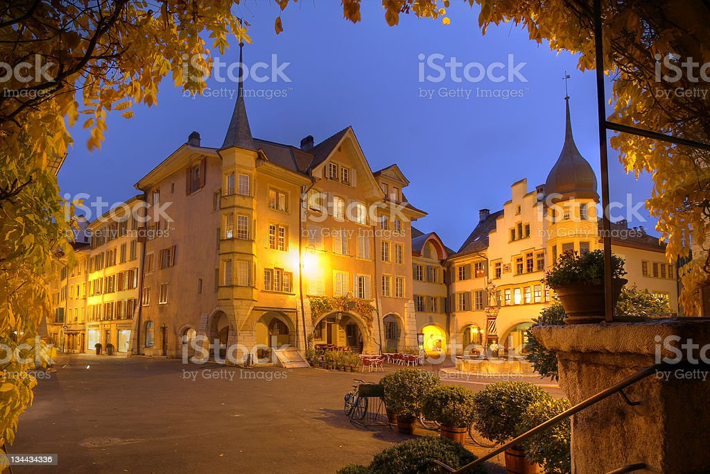 Biel/Bienne at night, Switzerland stock photo