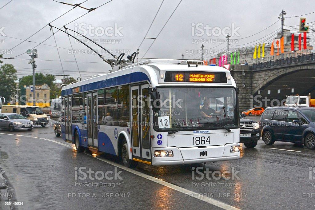 Bielkommunmasz trolleybus on the street in Moscow stock photo