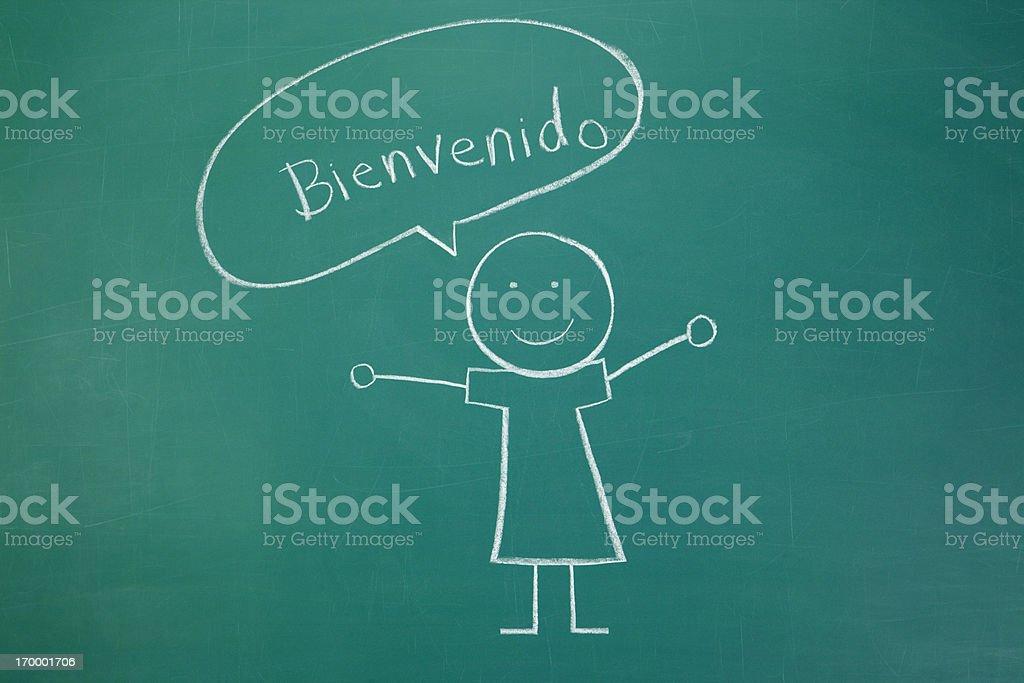 Bienvenido Chalk Drawing stock photo