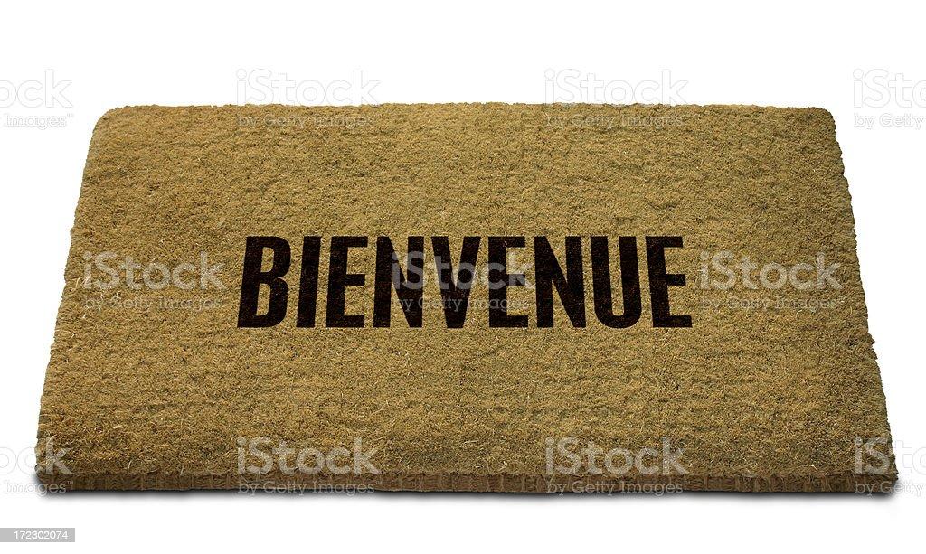 Bienvenue (French - Welcome) Doormat stock photo