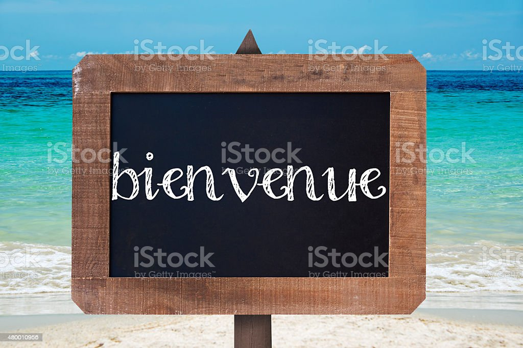 Bienvenue (meaning welcome) written on a wooden vintage chalk board stock photo