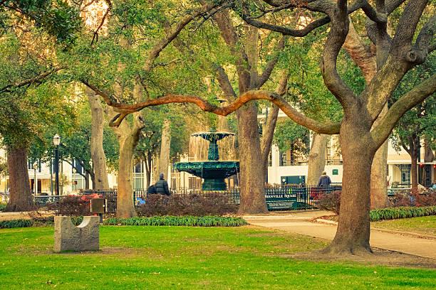 bienville square and park in downtown mobile alabama usa - alabama stok fotoğraflar ve resimler