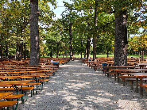 istock Biergarten in munich at park 1217011983