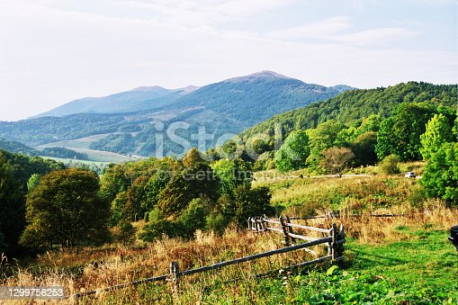 istock Bieszczady mountains in Poland, a view of the mountain pastures. 1299756253