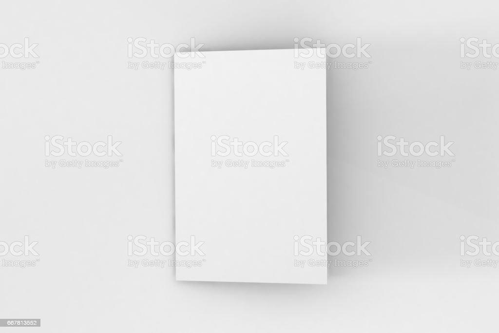 A5 Bifold Brochure Mockup on white background. stock photo