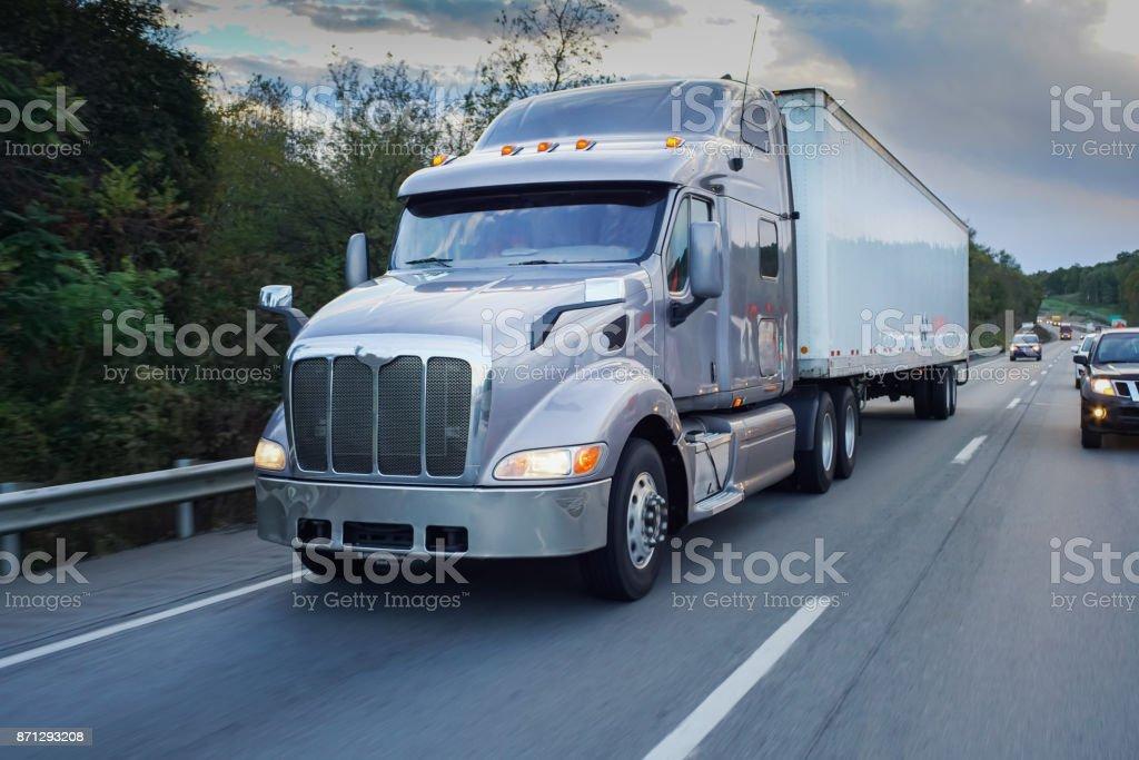 Big 18 wheeler on the road stock photo