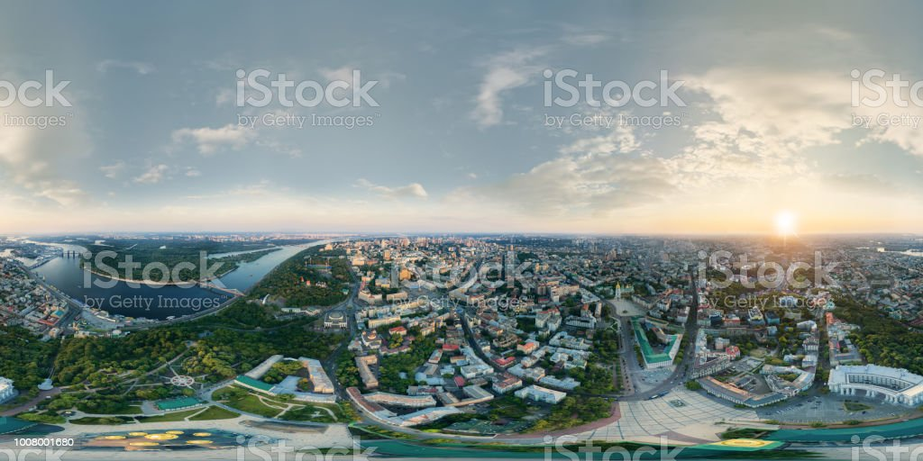 A big 360 degrees panorama in high resolution of the center of Kiev city at sunset. stock photo