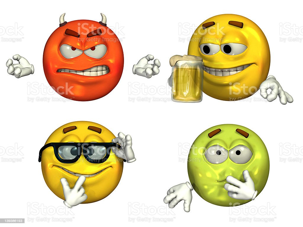 Big 3D Emoticons - Set 3 stock photo