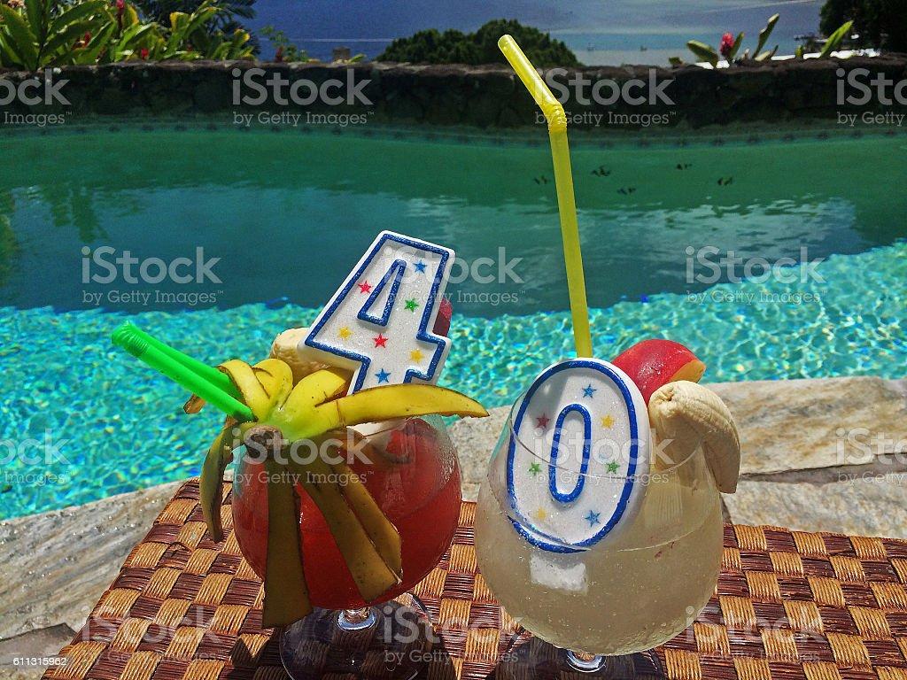 Big 4 0 Birthday Celebration Trip Fruity Drinks with Candles - foto de acervo