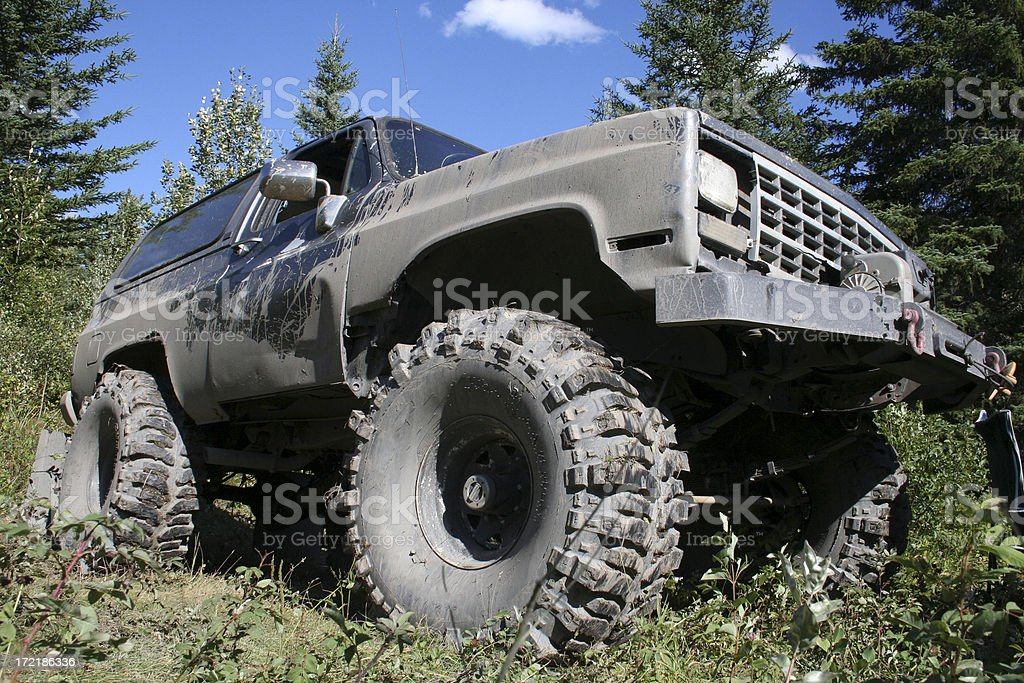 Big 4x4 truck with 44 inch tires, parked in the forest, covered in...