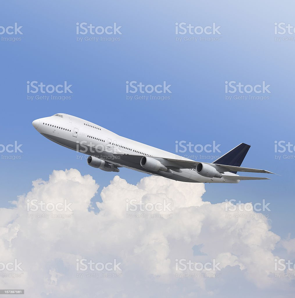 Big airplane Boeing 747 in the air stock photo