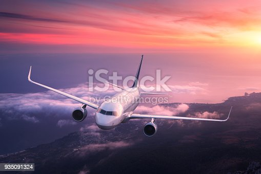 istock Big airplane is flying in red sky over the clouds 935091324