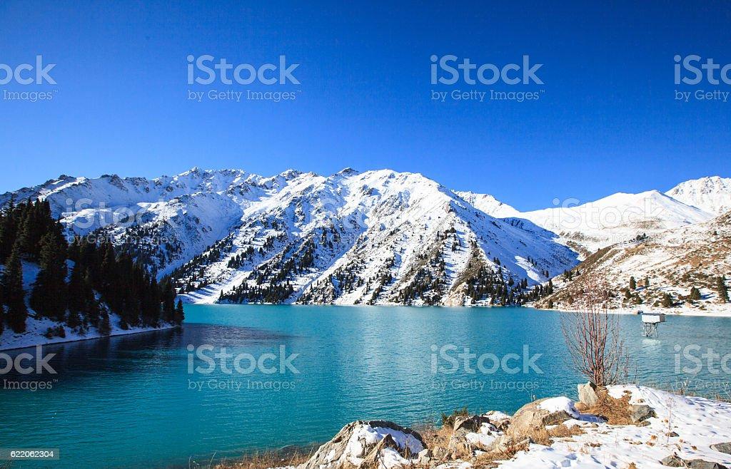 Big Almaty Lake, Kazakhstan stock photo