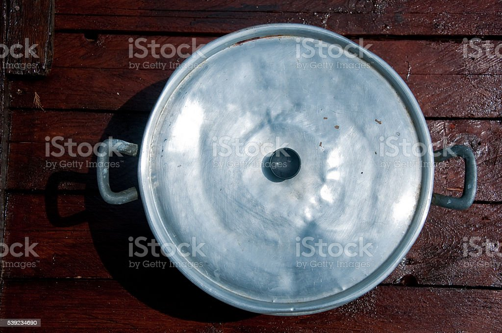 big aluminum pot with lid top view royalty-free stock photo