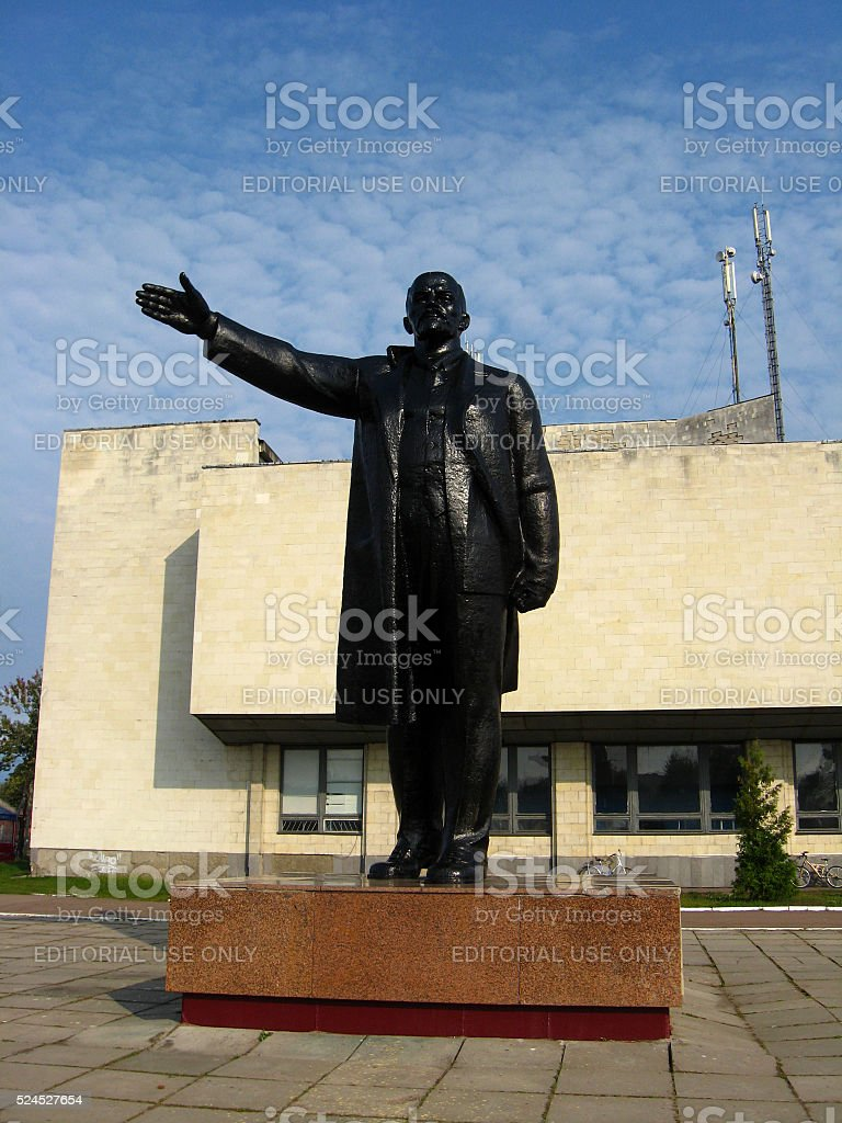 big and black monument to Lenin stock photo