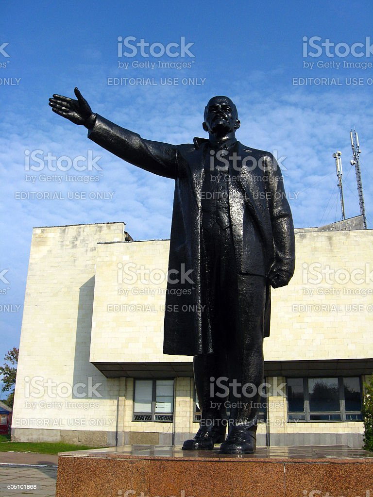 big and black monument to the leader of proletariat Lenin stock photo