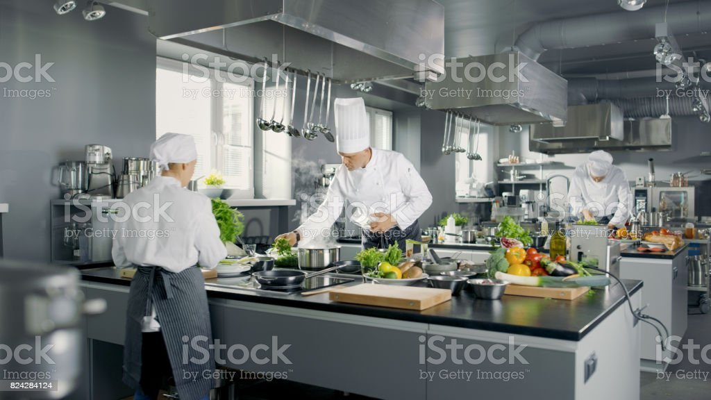 Big and Glamorous Restaurant Busy Kitchen, Chefs and Cooks Working on their Dishes. stock photo