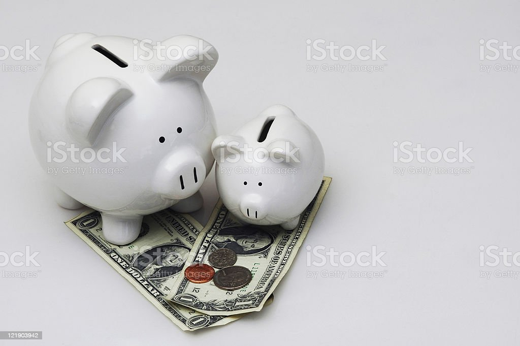 Big and Little Piggy Banks American Currency royalty-free stock photo