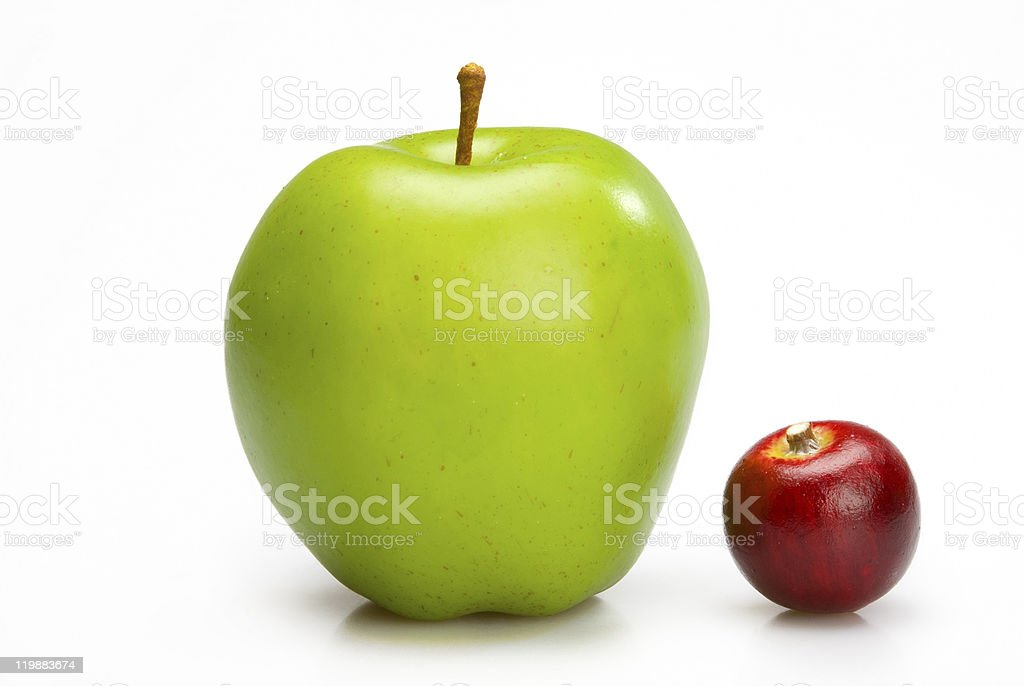 Big and small apples. stock photo