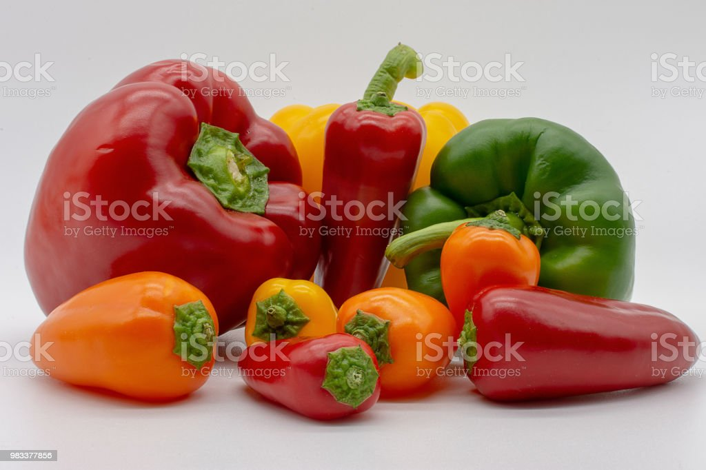 big and small peppers stock photo