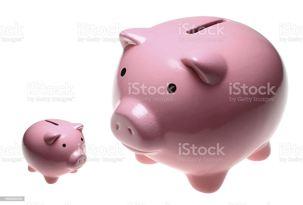Big and Small Piggy Banks stock photo