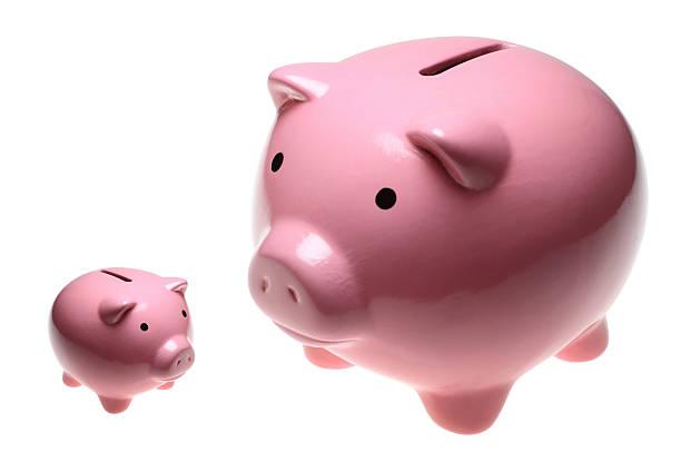 Big and Small Piggy Banks stock photo