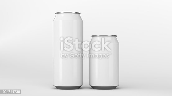 istock Big and small white soda cans mockup 924744736