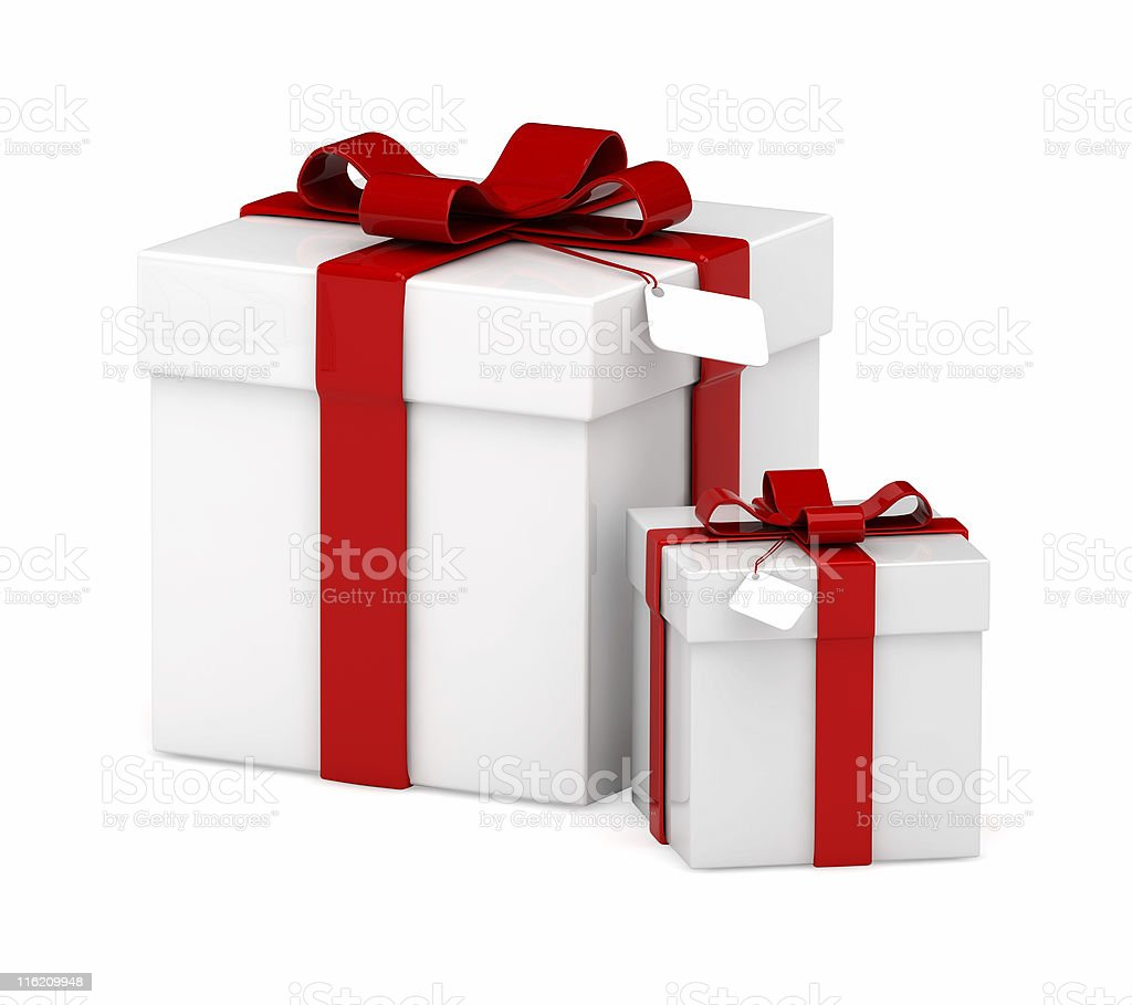 Big And Small White Square Gift Boxes With Red Bows Stock Photo