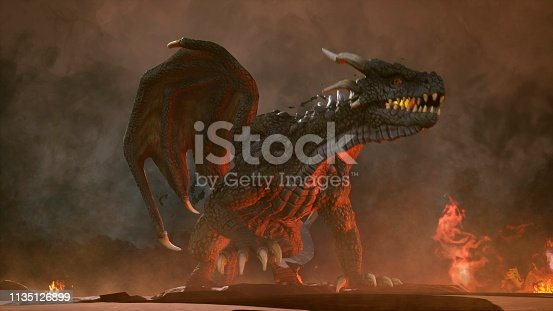 istock A big angry dragon in the desert is fighting off its enemies. 3D Rendering 1135126899