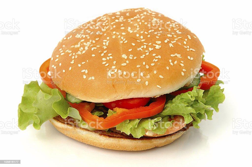 Big appetizing hamburger isolated on white background royalty-free stock photo