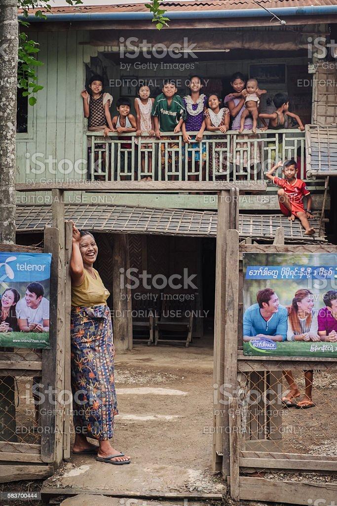 Big asian family in Myanmar stock photo