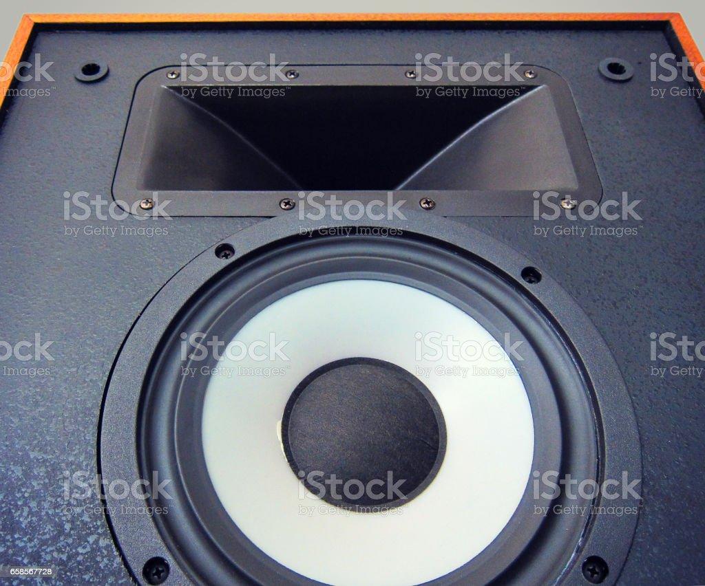 Big Audio Stereo Loud Speaker Cone Driver Stock Photo