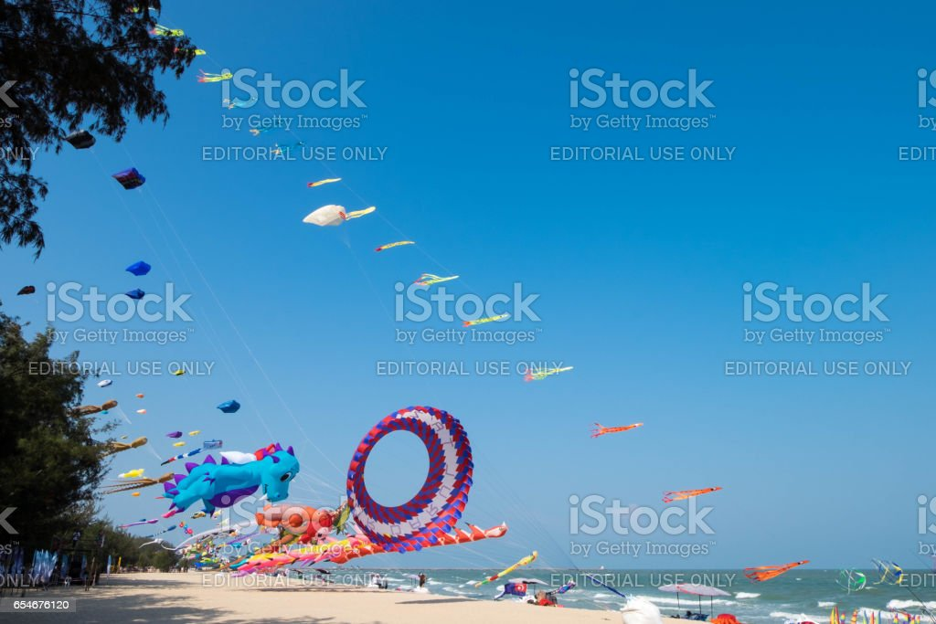 Big balloon Whale kite shows itself at Cha-am beach for Thailand international kite festival 2017 during March 10-12, 2017. stock photo