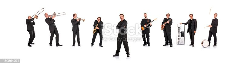 Big band with cool singer, isolated on white background.