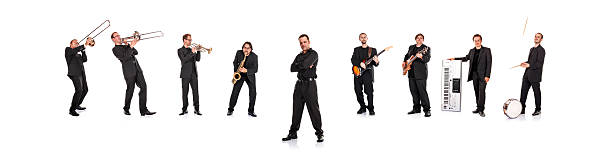 Big Band Portrait (XXXL resolution!) Big band with cool singer, isolated on white background.   drummer stock pictures, royalty-free photos & images