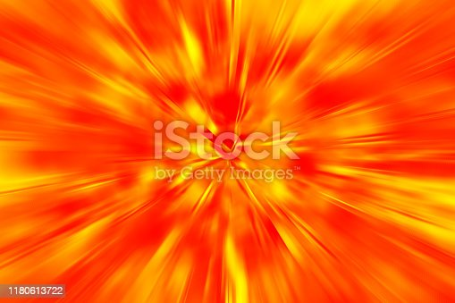 Big Bang Speed Motion Exploding Sunbeam Flame Fiery Red Neon Yellow Orange Background Blurred Light Beams Pattern Distorted Fractal Art Digitally Generated Image