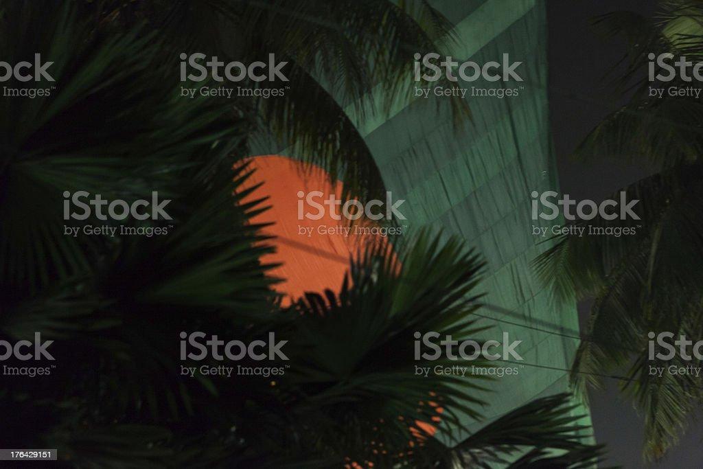 Big Bangladeshi Flag night time stock photo