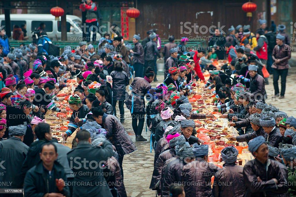 Big banquet in village, Guizhou, China stock photo
