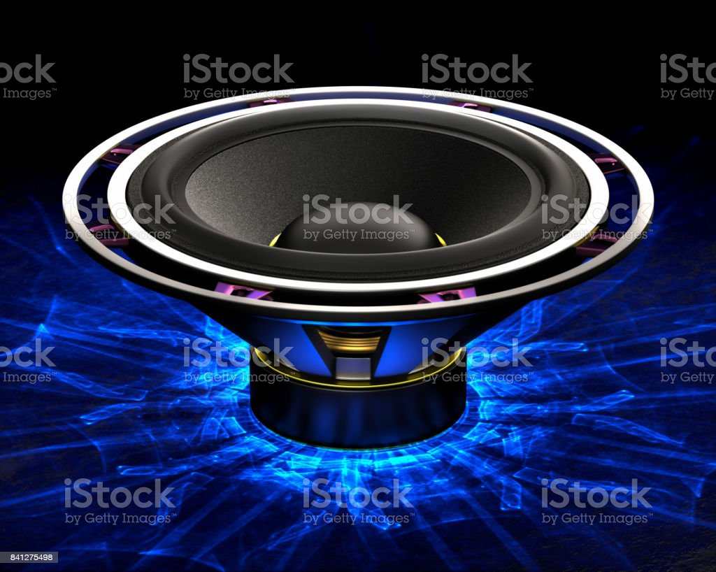 Big bass speaker with caustics light effect stock photo