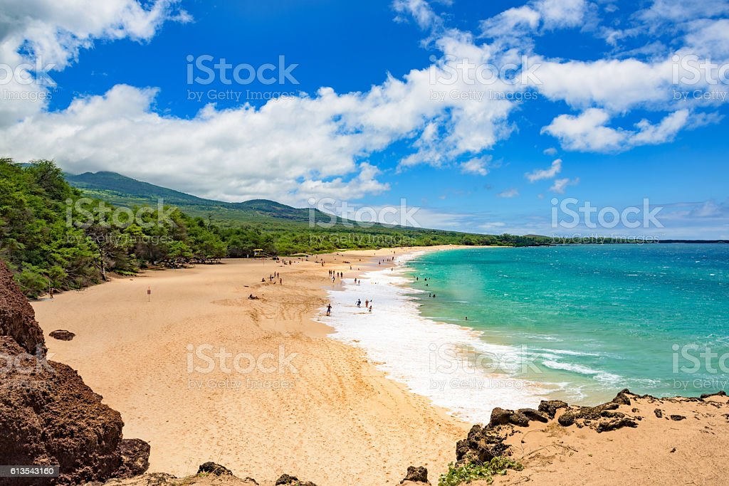 Big beach at Makena State Park on Maui, Hawaii stock photo